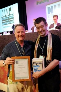 Mike Holderness being presented with his NUJ member of honour certificate by Tim Dawson Picture: Mark Dimmock